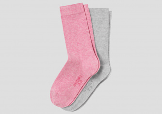 2er Pack SCHIESSER Damensocken Cotton Fit rosa & grau