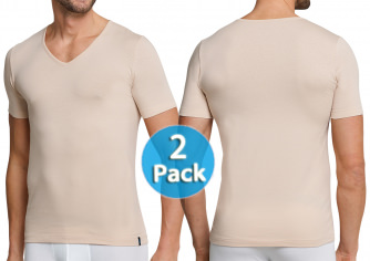 e9edb5ed4d 2-Pack Men V-Shirt 1 2 Schiesser 95 5 skin color