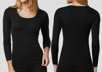 Shirt 1/1 Schiesser Luxury - schwarz