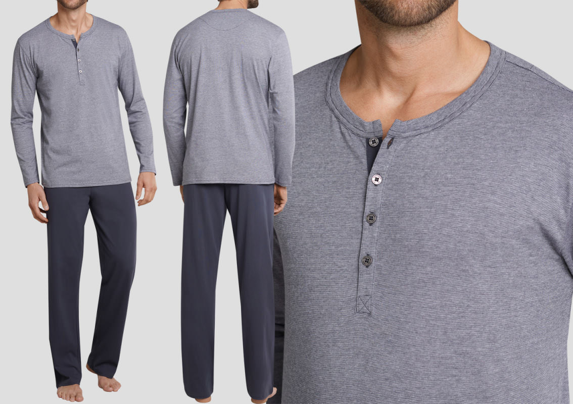 schiesser schlafanzug lang ebony 159630 nr 2 frei haus. Black Bedroom Furniture Sets. Home Design Ideas