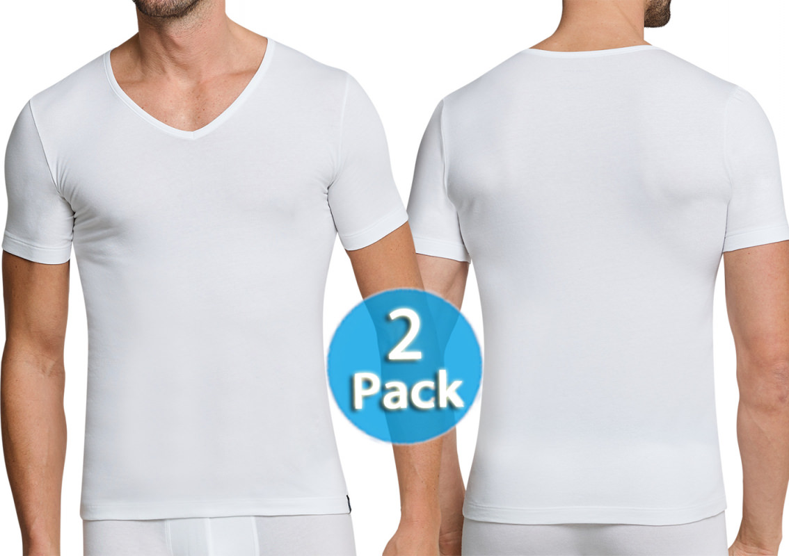7e7b89e07d 2-Pack Men V-Shirt 1 2 Schiesser 95 5 white Low V-Neck
