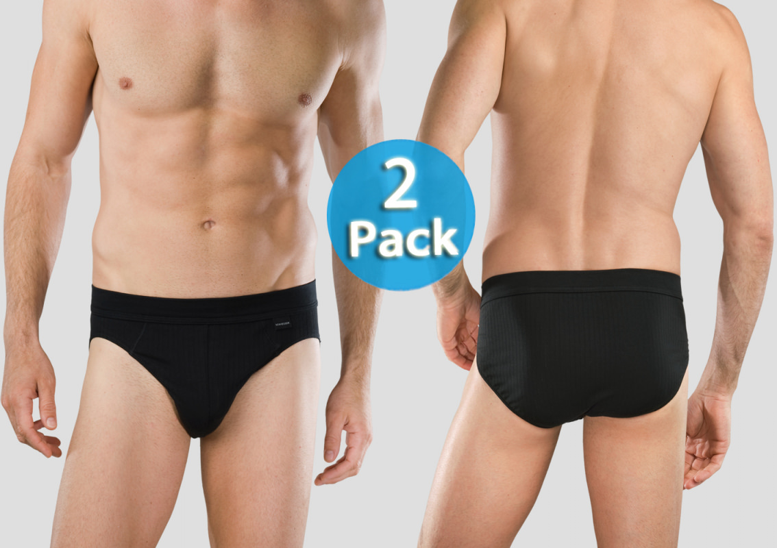 Men Rio-Slip Schiesser Authentic 2er-Pack - black